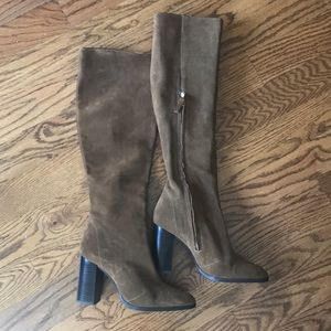 Zara Suede Knee Length Boots - size 9